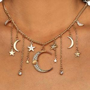 Bohemian Crystal Moon star pendant necklace